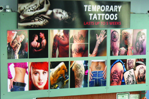 Photo of the Temporary Tattoo Sign